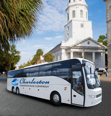 56-Passenger Charter Bus Rental in Charleston | Charleston Charter